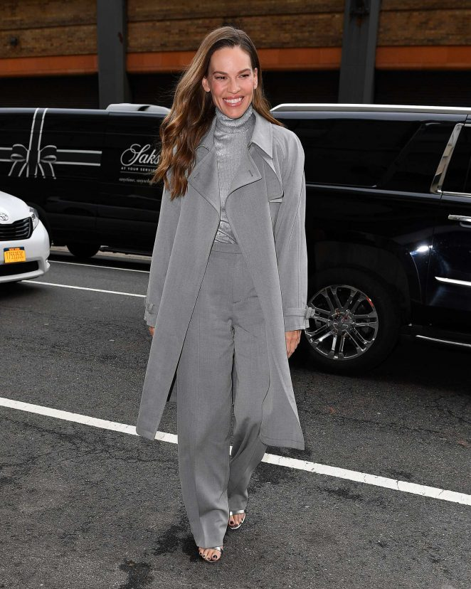Hilary Swank in grey coat at the Ralph Lauren show in New York City