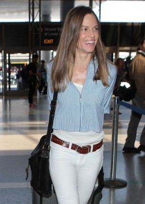 Hilary Swank in Tight Jeans at LAX Airport in LA