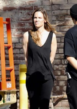 Hilary Swank - On the set of film project in Los Angeles