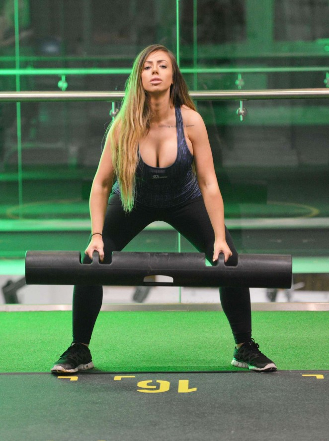 Holly Hagan in Tights Working out in the gym