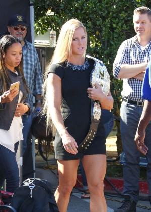 Holly Holm - Takes her UFC Championship belt to Extra in Los Angeles