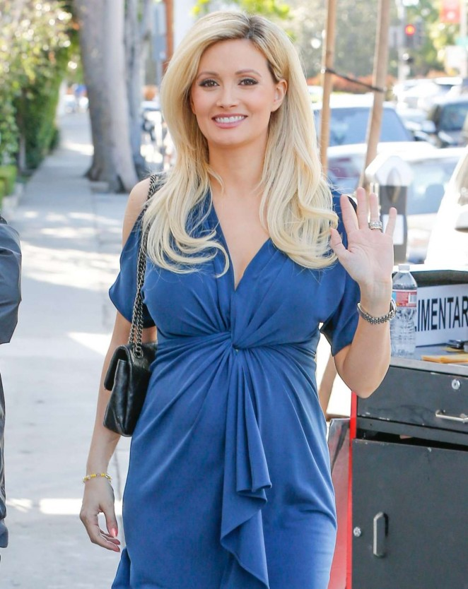 Holly Madison in Blue Dress Out in West Hollywood