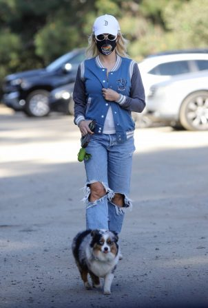 Holly Madison - With her dog in Los Angeles