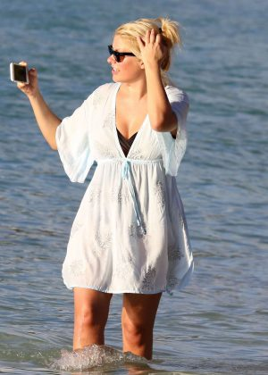 Holly Willoughby at the beach on holiday in the Caribbean