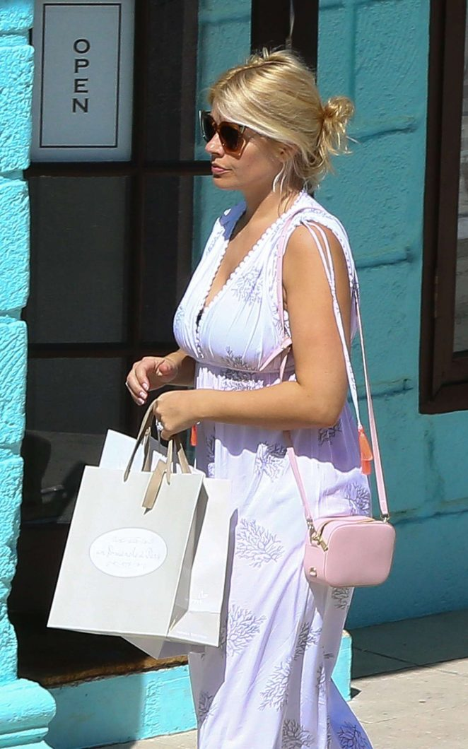 Holly Willoughby in Long Dress out shopping in Barbados