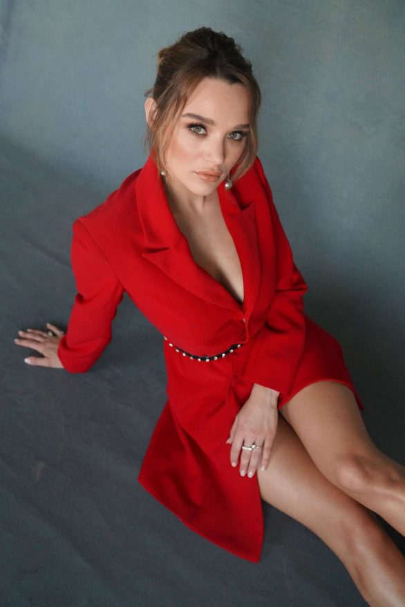 Hunter King - Wearing a Nathalie Karam red dress for a photoshoot at PCA 2019 in LA