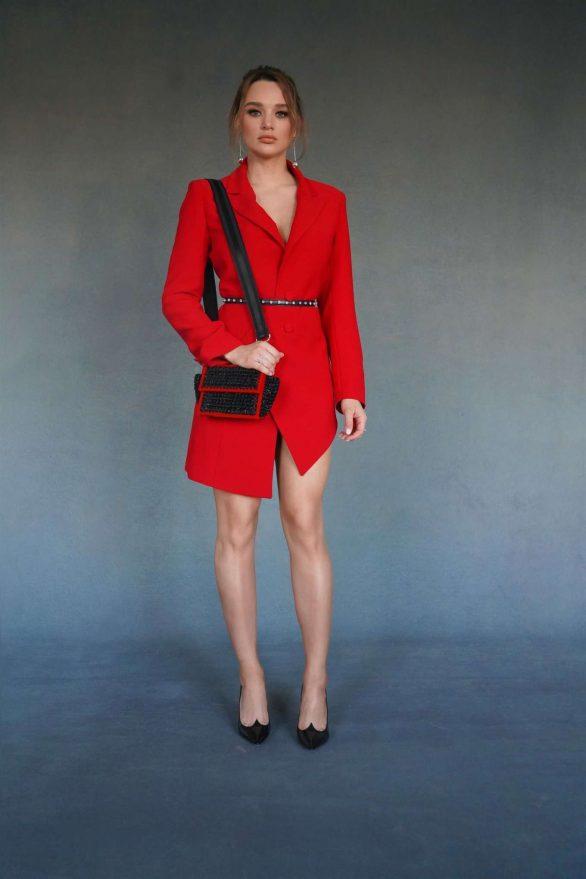 Hunter King 2019 : Hunter King – Wearing a Nathalie Karam red dress for a photoshoot at PCA 2019 in LA-04