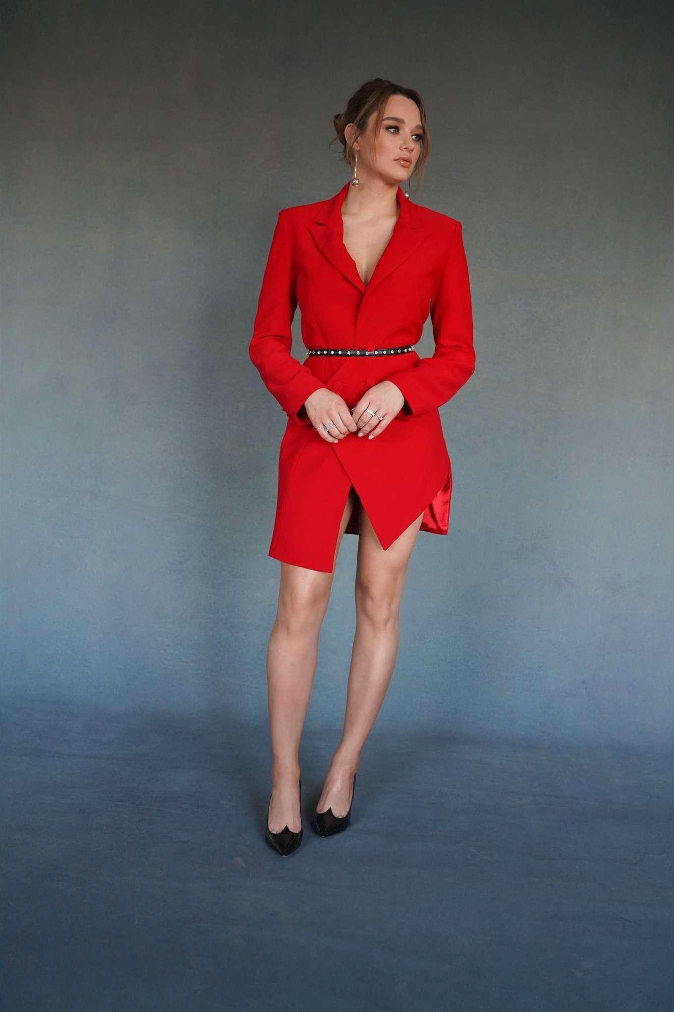Hunter King 2019 : Hunter King – Wearing a Nathalie Karam red dress for a photoshoot at PCA 2019 in LA-05