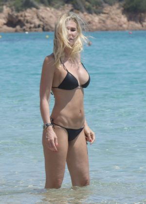 Ilary Blasi in Black Bikini in Sardinia