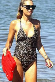 Ilary Blasi in Animal Print Swimsuit in Sabaudia