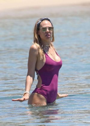 Ilary Blasi in Swimsuit on the beach in Mykonos