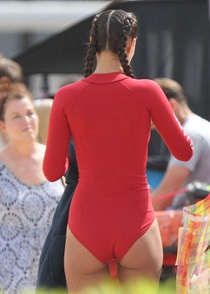 Ilfenesh Hadera in Red Swimsuit On Baywatch set -06