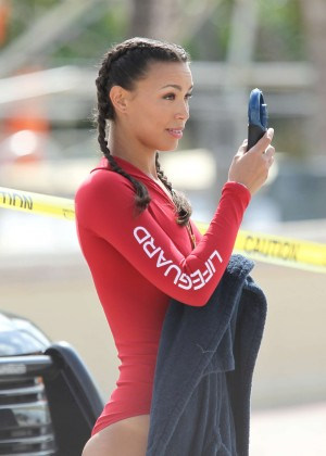Ilfenesh Hadera in Red Swimsuit On Baywatch set -11