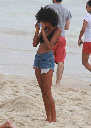 Imaan Hammam in Black Bikini at Ipanema Beach in Rio de Janeiro Pic 2 of 35