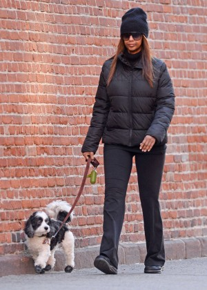 Iman - Walking her dog in New York