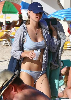 Immy Waterhouse in Gray Bikini on holiday in Barbados