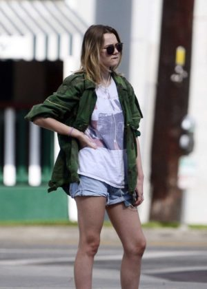 Immy Waterhouse in Jeans Shorts out in West Hollywood