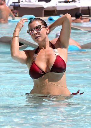 Imogen thomas in red bikini at a pool in las vegas for Pool show vegas 2016