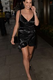 Imogen Thomas in Black Mini Dress at Novikov restaurant in Mayfair