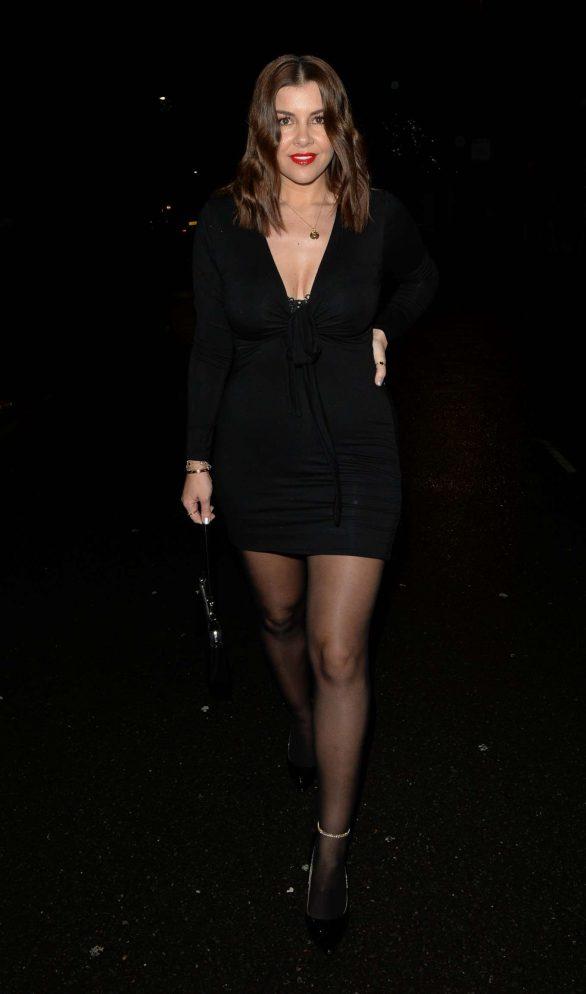 Imogen Thomas in Black Mini Dress at Vito Restaurant in London