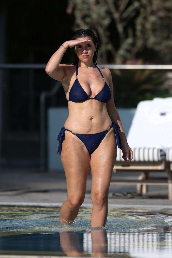 Imogen Thomas in Blue Bikini at the pool in Madrid