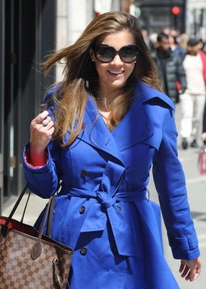 Imogen Thomas in Blue Coat Out in London