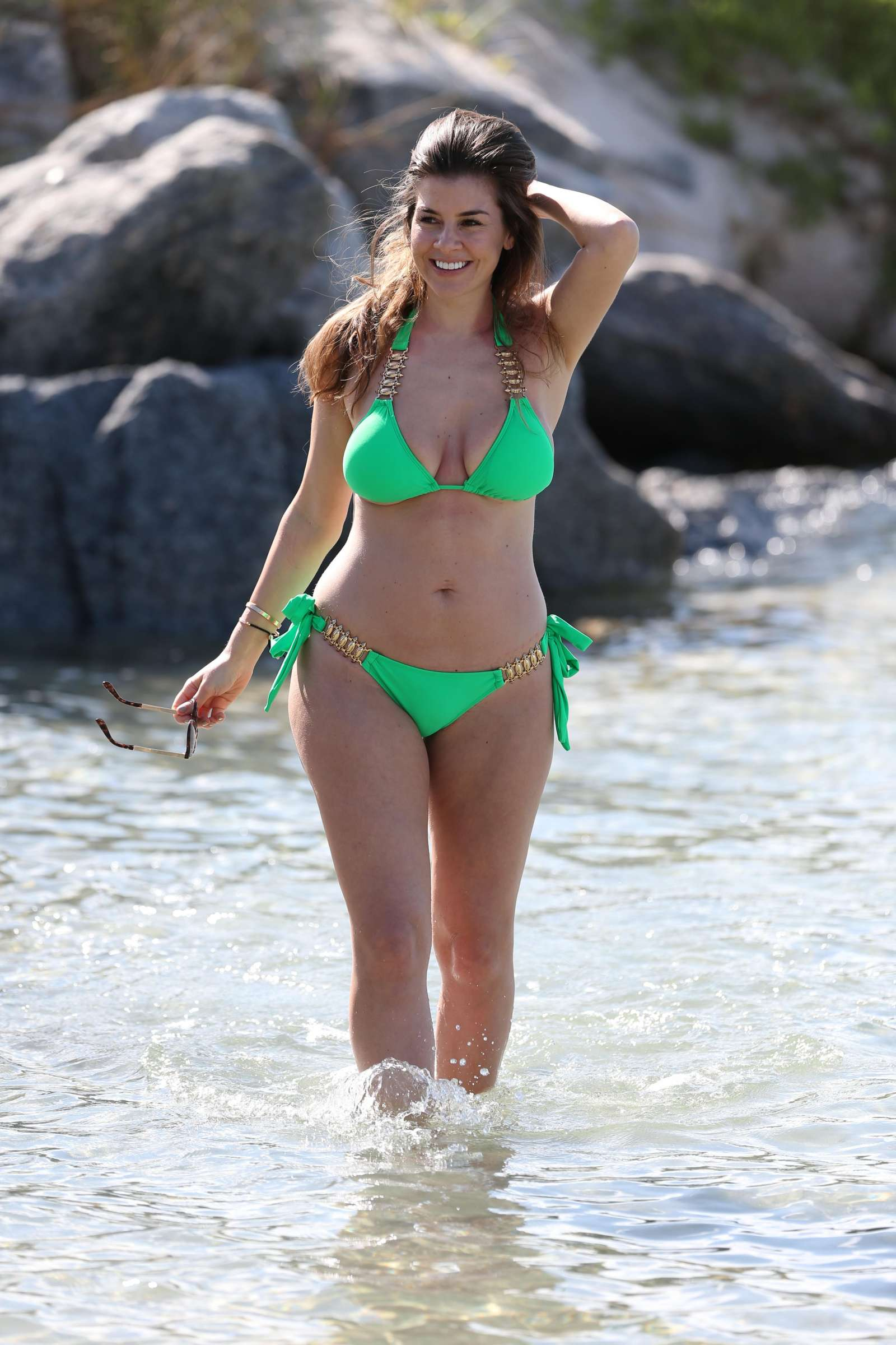 Imogen Thomas in Green Bikini at Miami Beach