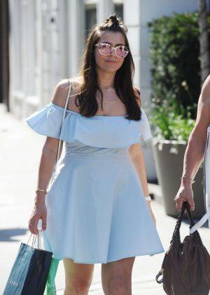 Imogen Thomas in Mini Dress - Shopping in London