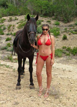 Imogen Thomas in Red Bikini in Mallorca