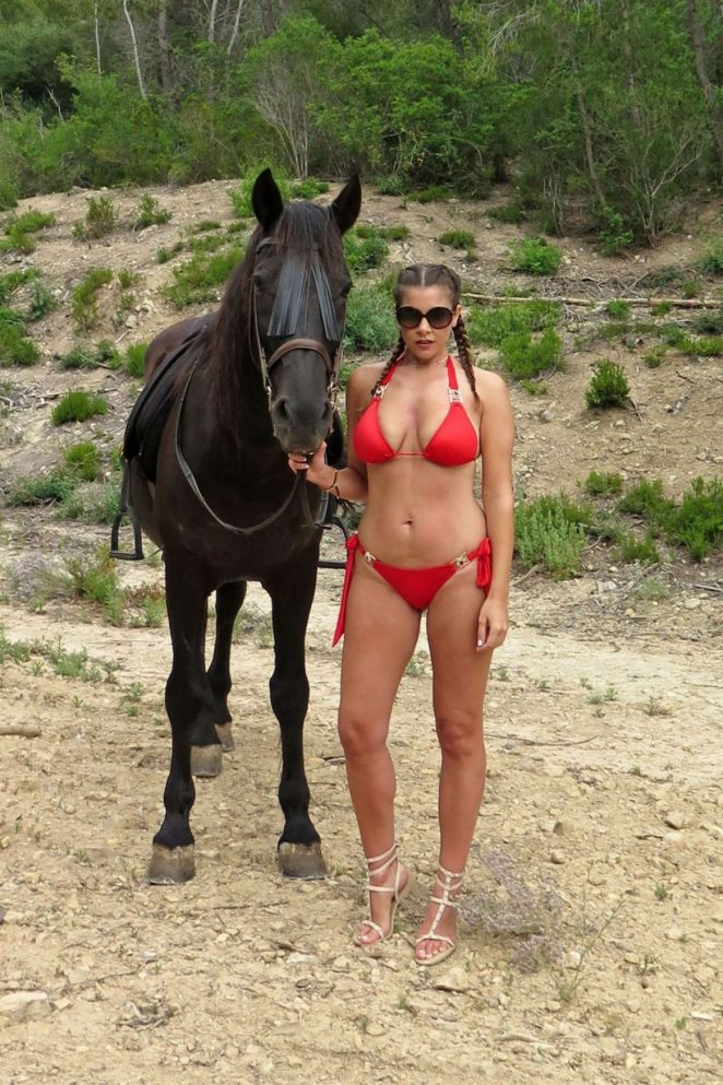 Imogen Thomas in Red Bikini in Mallorca