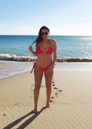 Imogen Thomas in Red Bikini on a beach in Portugal