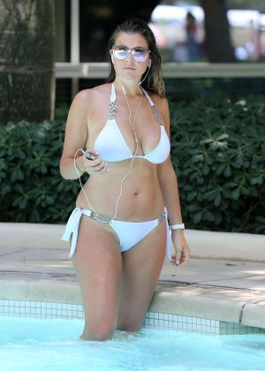 Imogen Thomas in White Bikini at pool in Las Vegas