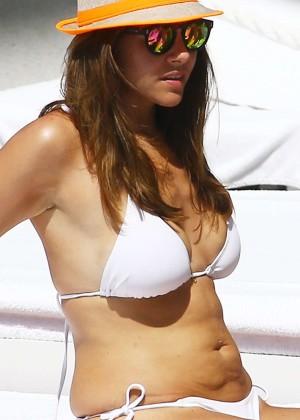 Imogen Thomas in White Bikini in Miami