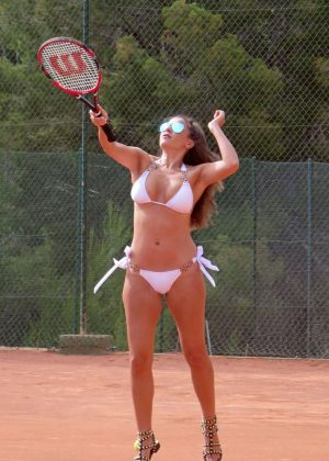Imogen Thomas in White Bikini Playing Tennis in London