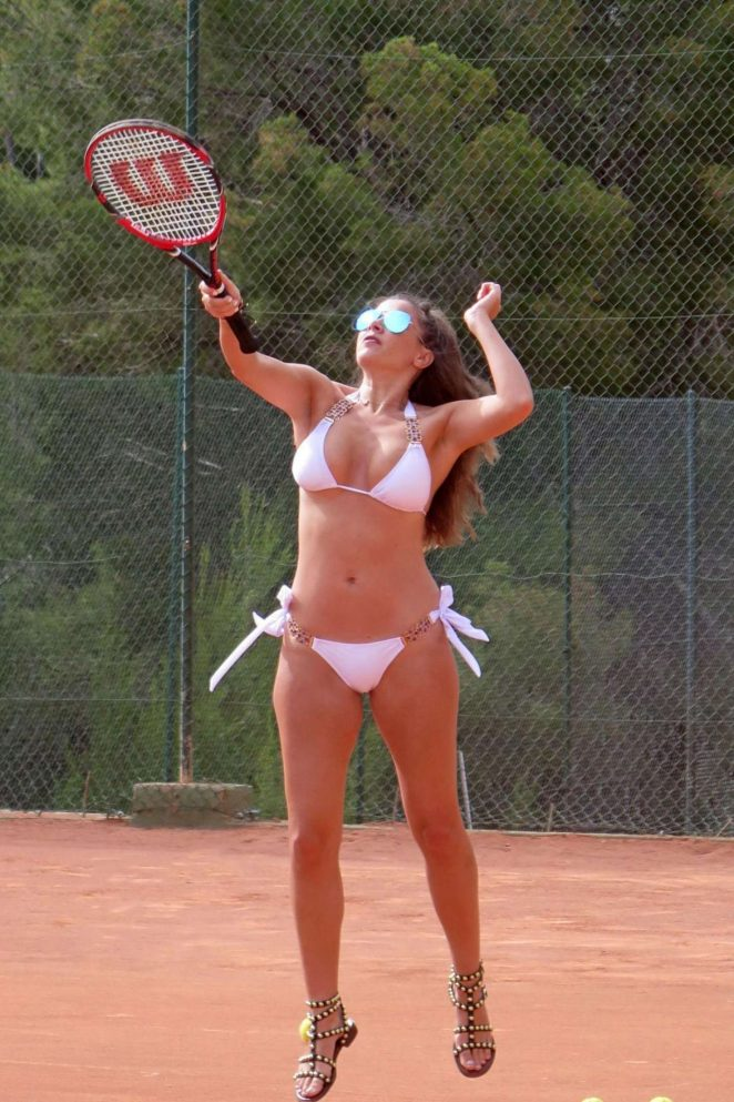 Imogen Thomas in White Bikini Playing Tennis in London