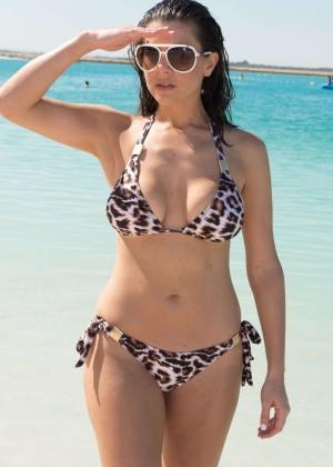 Imogen Thomas in Leopard Print Bikini in Dubai