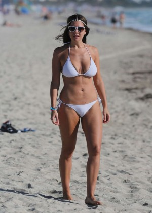 Imogen Thomas in White Bikini on Miami Beach