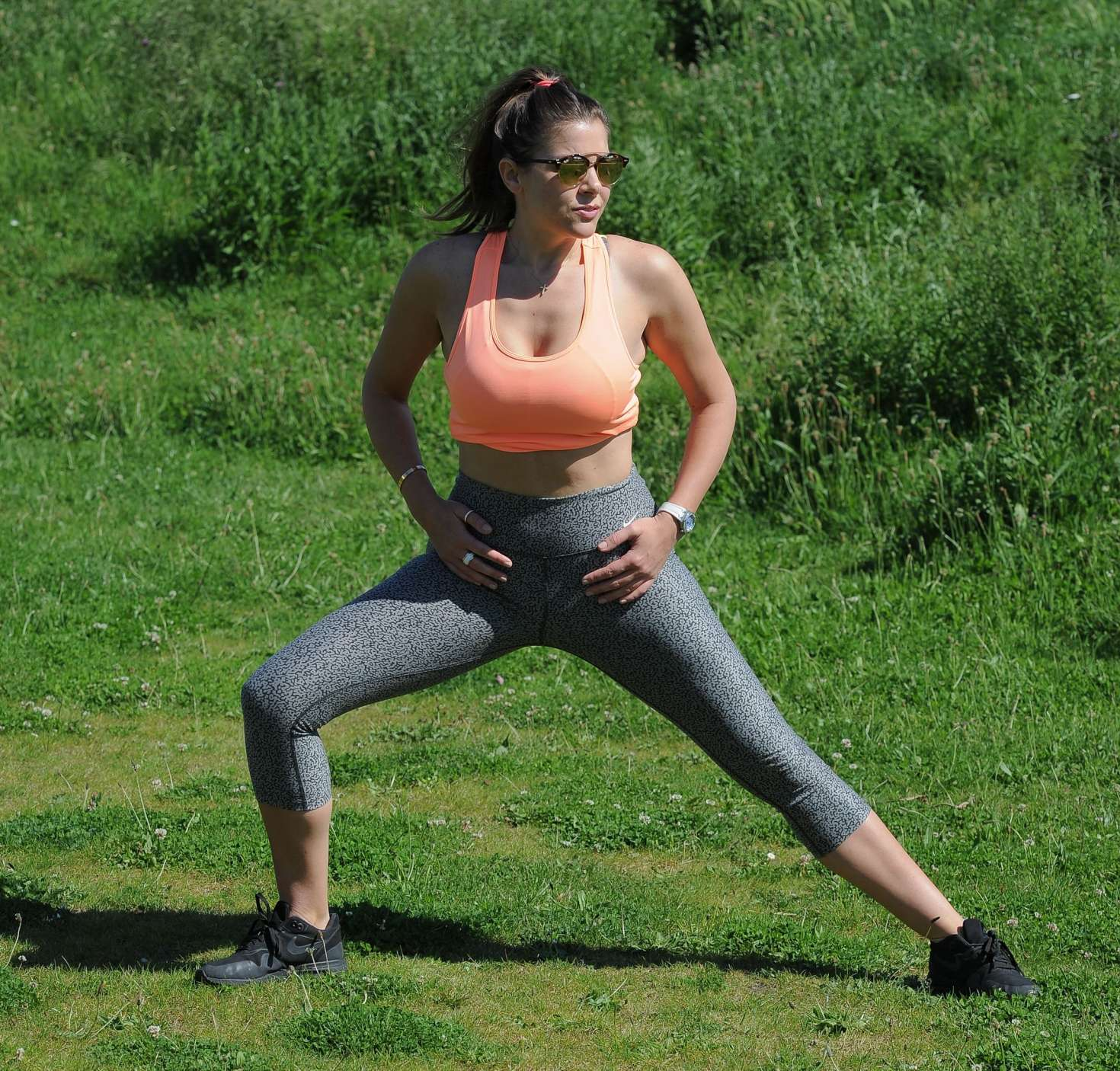 Imogen Thomas workout at a park in London