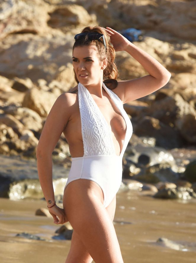 Imogen Townley in White Swimsuit in Spain