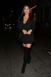 India Reynolds - Leaving Baglatelle Restaurant in Mayfair