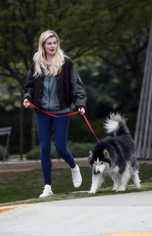 Ireland Baldwin and Corey Harper: Leaving a park with her dog -02
