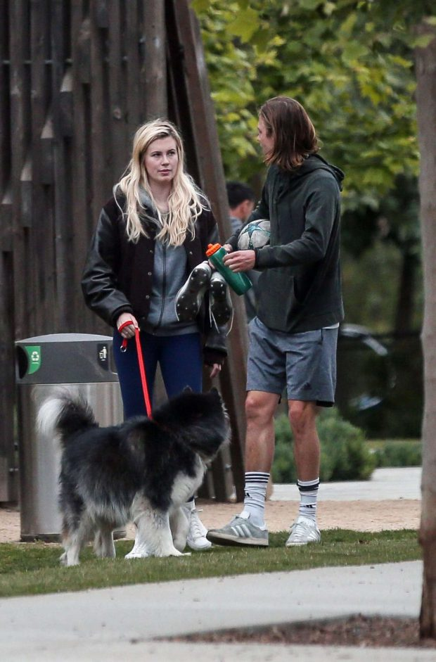 Ireland Baldwin and Corey Harper - Leaving a park with her dog in LA
