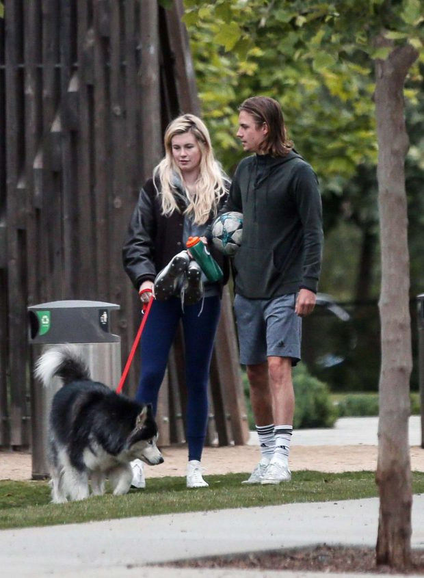 Ireland Baldwin and Corey Harper: Leaving a park with her dog -04