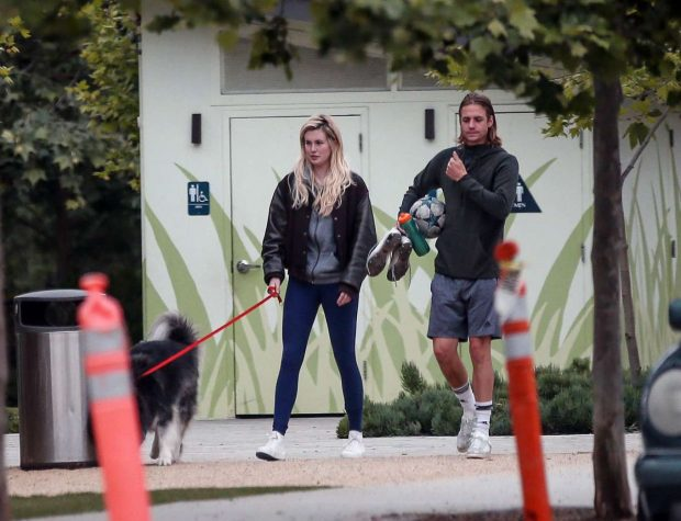 Ireland Baldwin and Corey Harper: Leaving a park with her dog -13