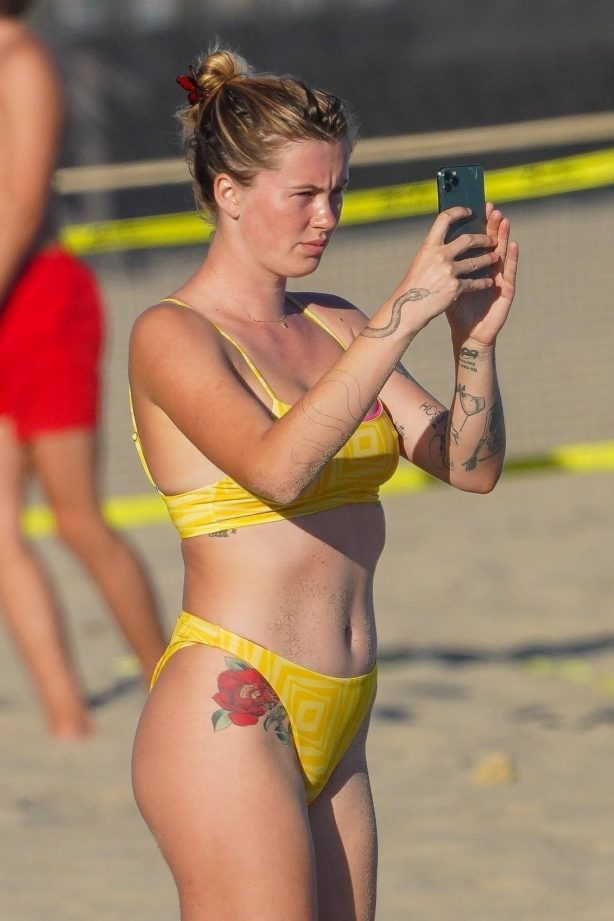 Ireland Baldwin - In a yellow bikini on the beach in Malibu