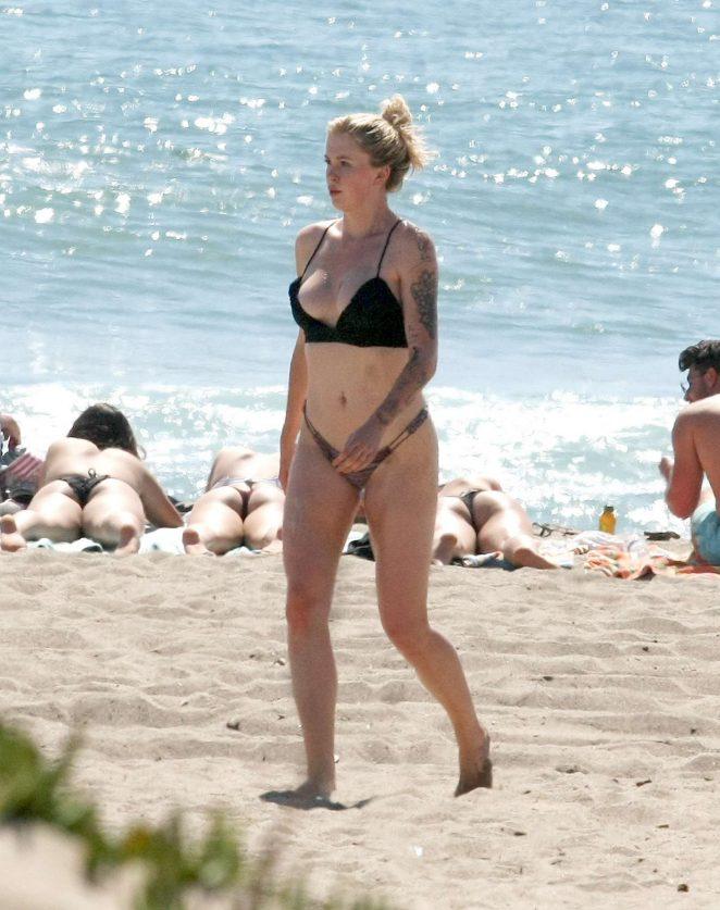 Ireland Baldwin in Black Bikini at a Beach in Malibu