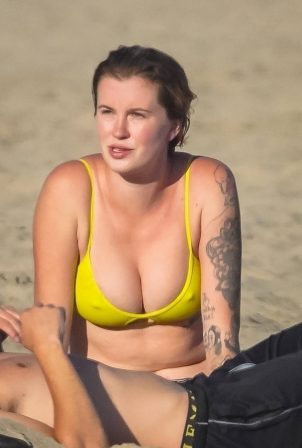 Ireland Baldwin in Yellow Bikini at the beach in Malibu