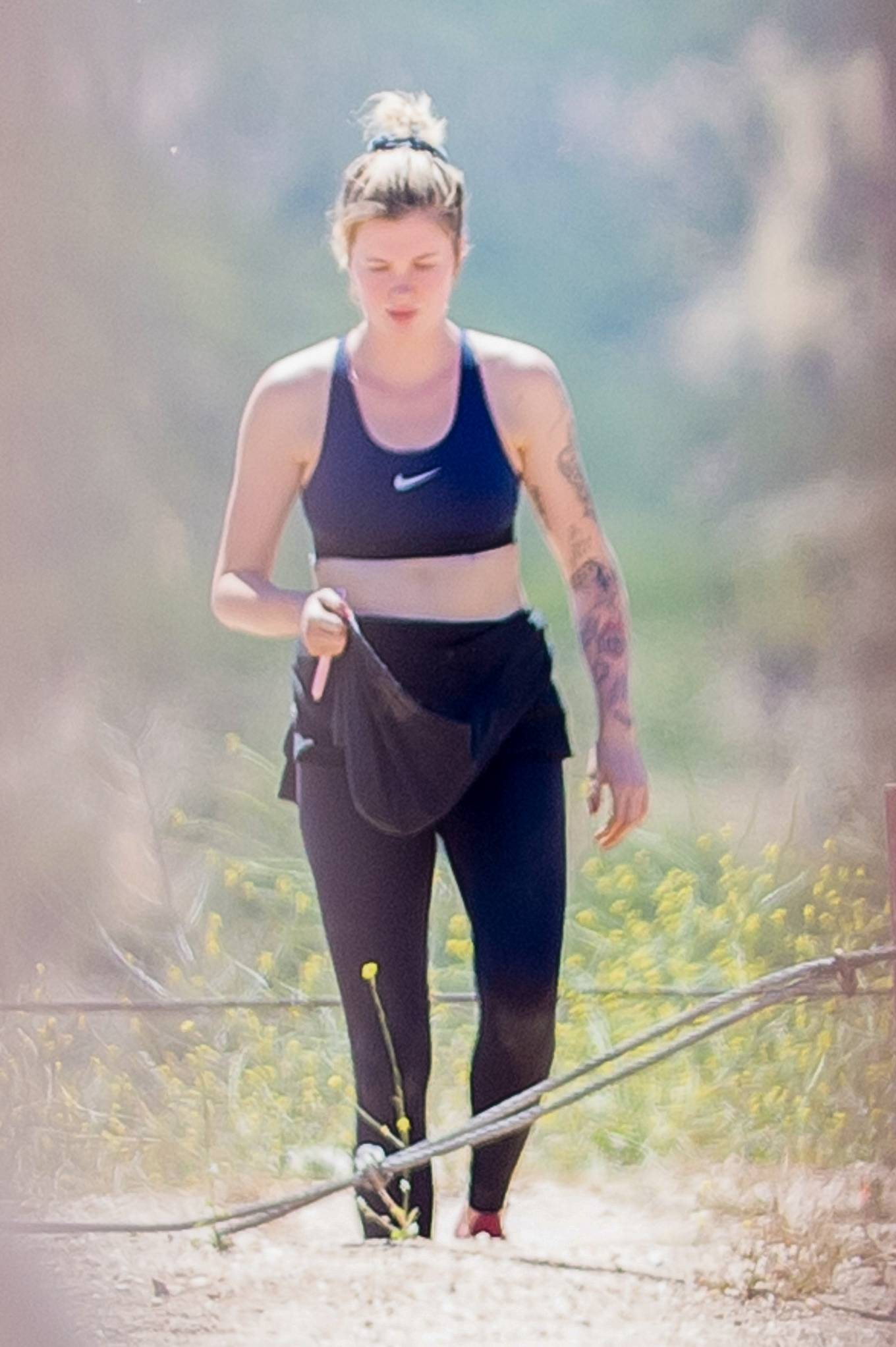 Ireland Baldwin - On a hike with a friend in Los Angeles