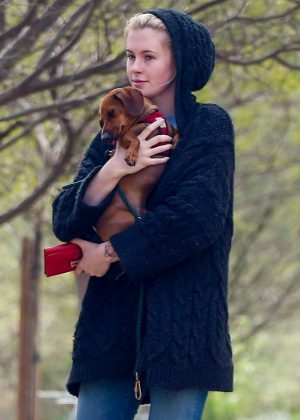 Ireland Baldwin - Walking her dog at a local dog park in LA