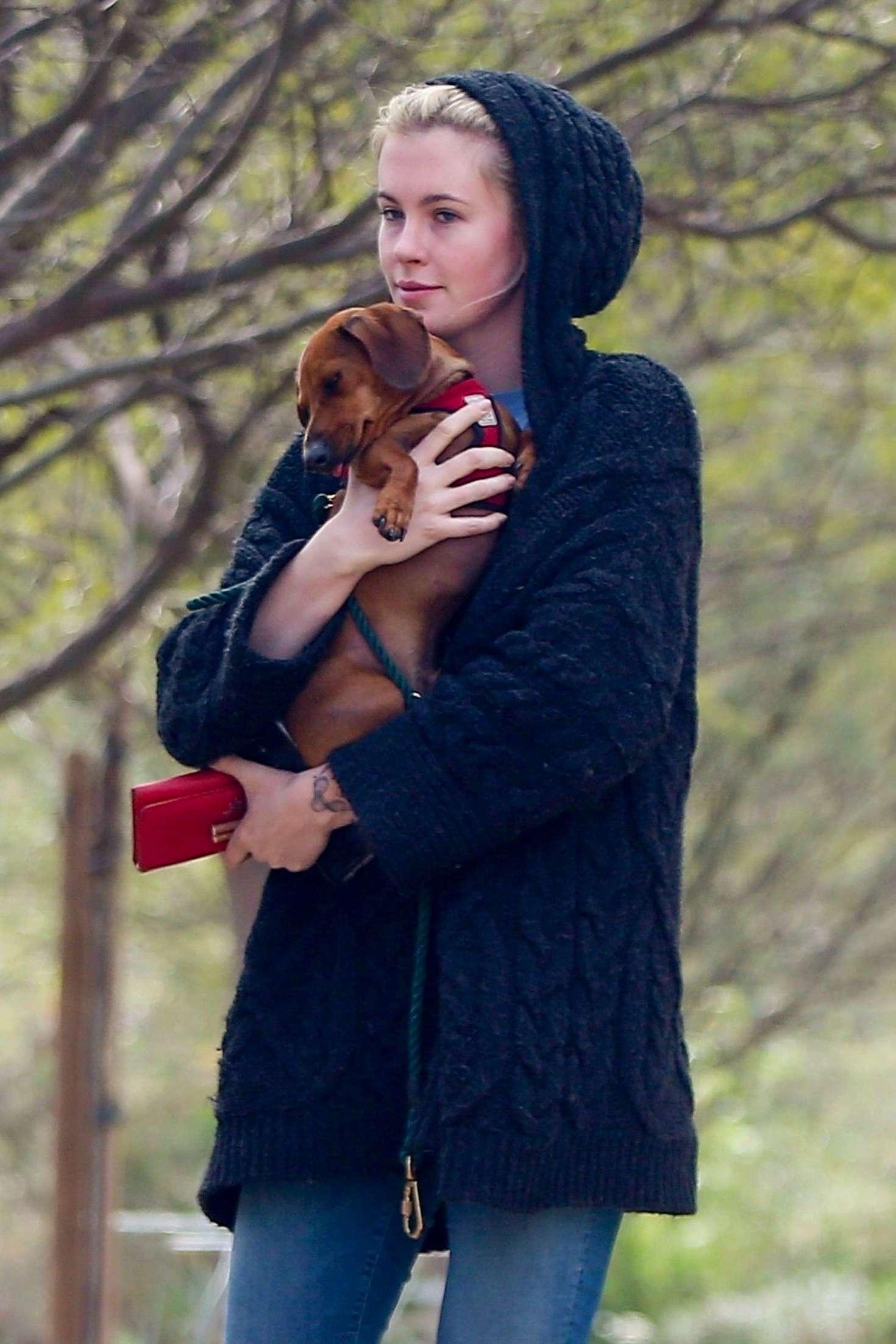 Ireland Baldwin - Walking her dog at a local dog park in LA